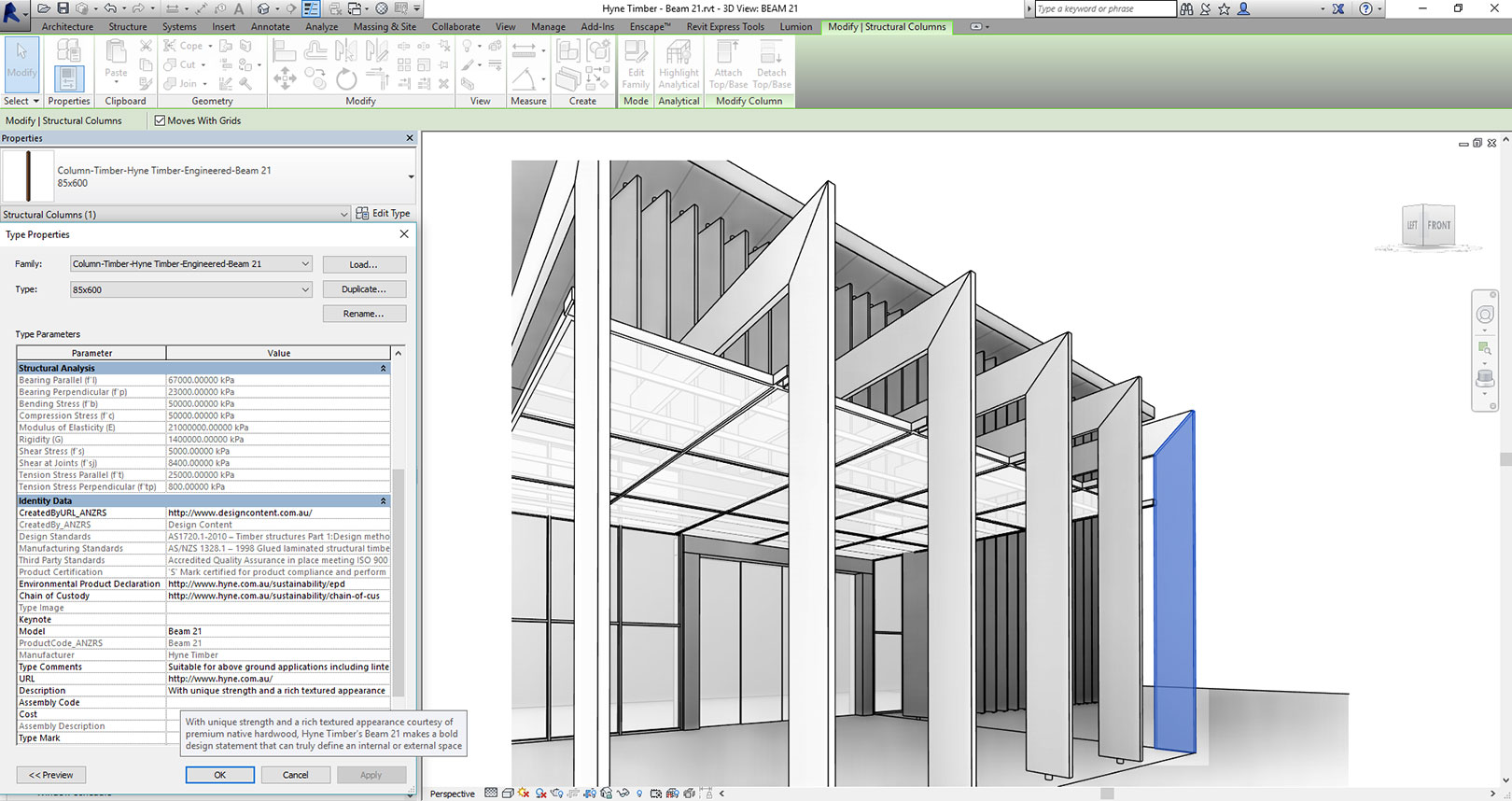 Beam 21 in Revit